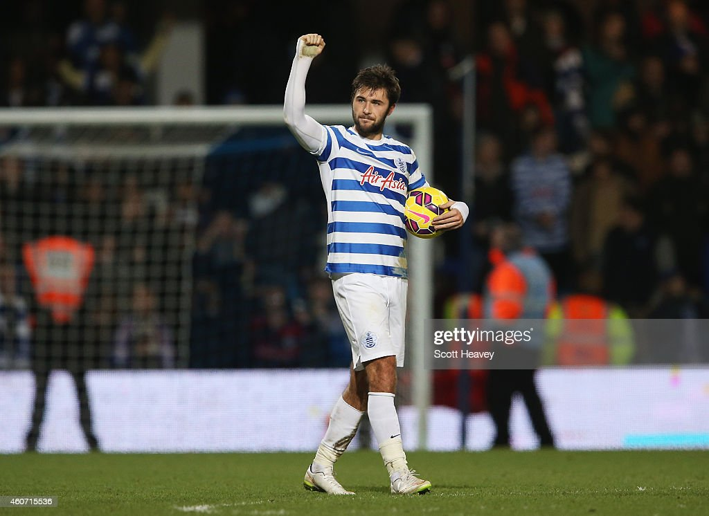 Charlie Austin of QPR celebrates victory after his three goals during the Barclays Premier League match between Queens Park Rangers and West Bromwich Albion at Loftus Road on December 20, 2014 in London, England.