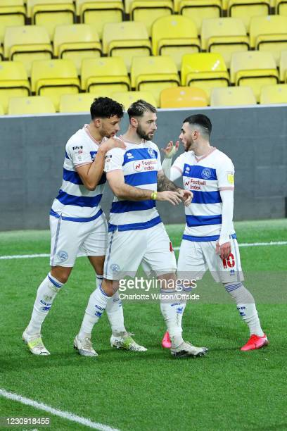 Charlie Austin of QPR celebrates with teammates Macauley Bonne of QPR and Ilias Chair of QPR after scoring their 1st goal during the Sky Bet...