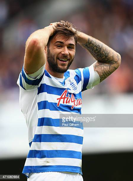 Charlie Austin of QPR reacts during the Barclays Premier League match between Queens Park Rangers and West Ham United at Loftus Road on April 25 2015...