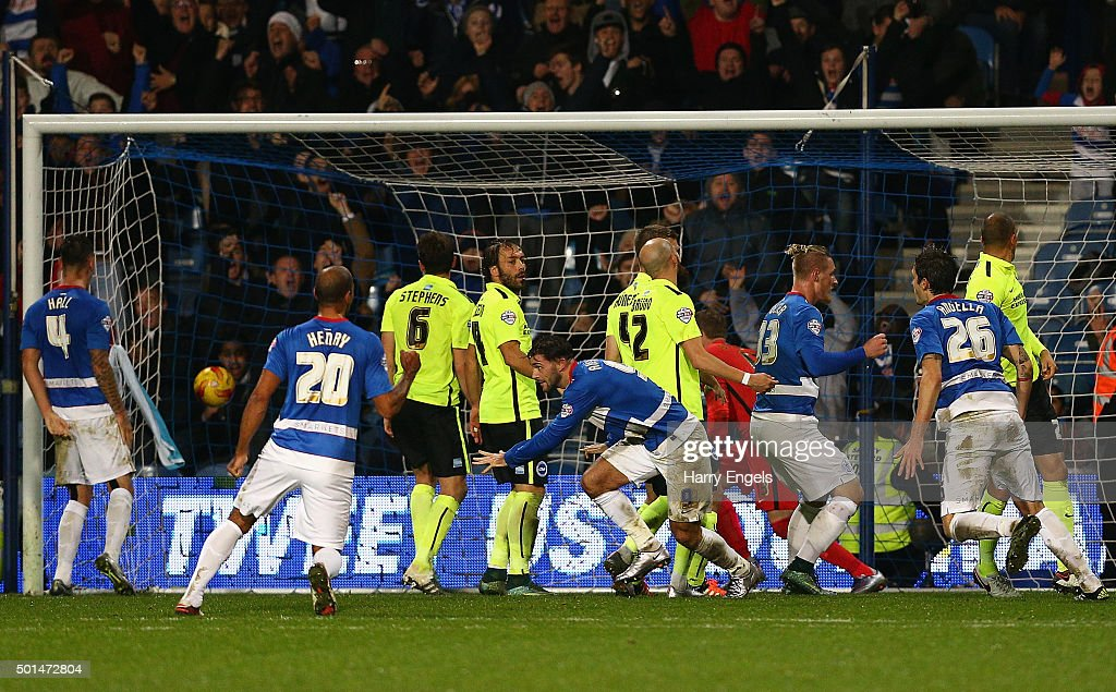Charlie Austin of QPR (C) scores his second goal during the Sky Bet Championship match between Queens Park Rangers and Brighton and Hove Albion at Loftus Road on December 15, 2015 in London, United Kingdom.