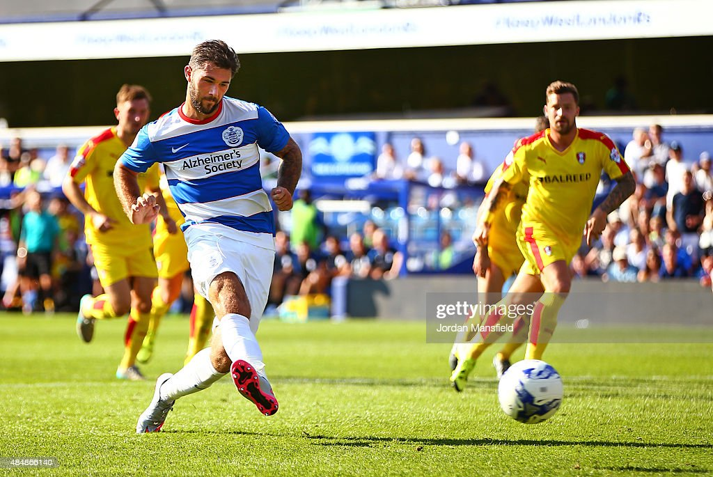 Charlie Austin of QPR scores his sides fourth goal from the penalty spot during the Sky Bet Championship match between Queens Park Rangers and Rotherham United at Loftus Road on August 22, 2015 in London, England.