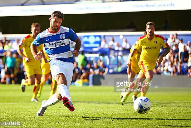 Charlie Austin of QPR scores his sides fourth goal from the penalty spot during the Sky Bet Championship match between Queens Park Rangers and...