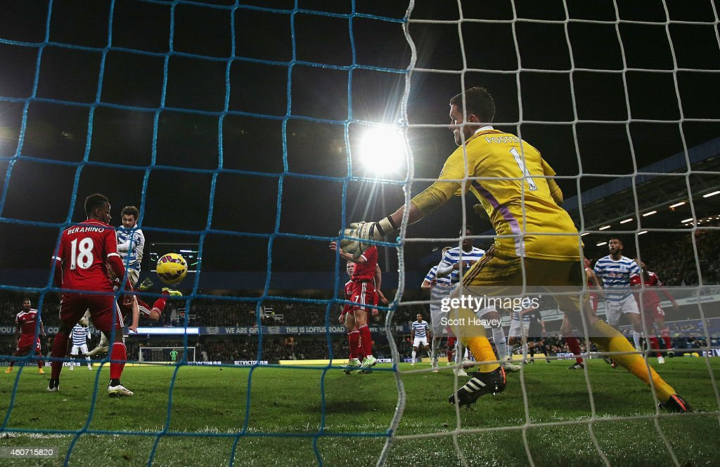 Charlie Austin of QPR scores his third goal with a header during the Barclays Premier League match between Queens Park Rangers and West Bromwich Albion at Loftus Road on December 20, 2014 in London, England.