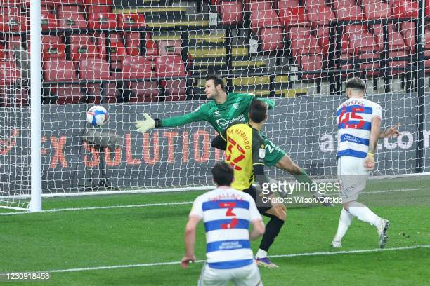 Charlie Austin of QPR scores their 1st goal during the Sky Bet Championship match between Watford and Queens Park Rangers at Vicarage Road on...