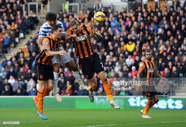 Charlie Austin of QPR scores their first and equalising goal during the Barclays Premier League match between Hull City and Queens Park Rangers at KC...