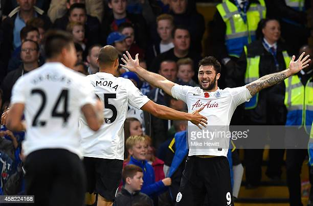 Charlie Austin of Queens Park Rangers celebrates his goal during the Barclays Premier League match between Chelsea and Queens Park Rangers at...