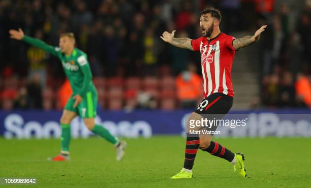 Charlie Austin of Southampton after his goal is dissallowed during the Premier League match between Southampton FC and Watford FC at St Mary's...