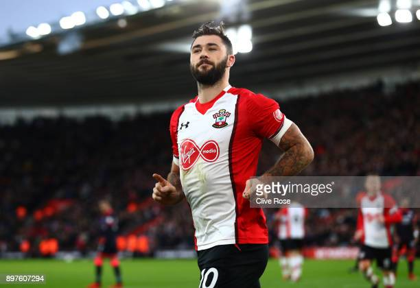 Charlie Austin of Southampton celebrates after scoring his sides first goal during the Premier League match between Southampton and Huddersfield Town...