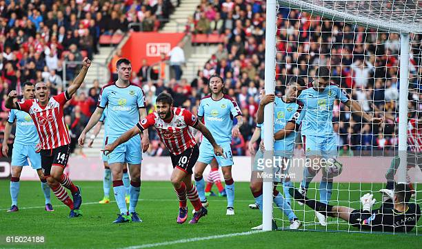 Charlie Austin of Southampton celebrates as he scores their first goal during the Premier League match between Southampton and Burnley at St Mary's...