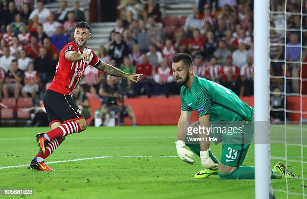 Charlie Austin of Southampton celebrates scoring his second goal during the UEFA Europa League Group K match between Southampton FC and AC Sparta...
