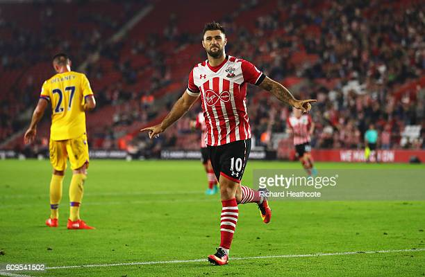 Charlie Austin of Southampton celebrates scoring his sides first goal during the EFL Cup Third Round match between Southampton and Crystal Palace at...