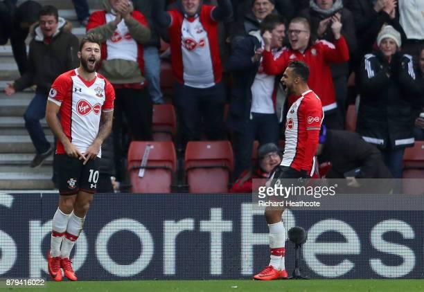 Charlie Austin of Southampton celebrates scoring the 2nd Southampton goal with Sofiane Boufal of Southampton during the Premier League match between...