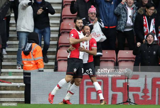 Charlie Austin of Southampton celebrates scoring the first Southampton goal with Nathan Redmond of Southampton during the Premier League match...