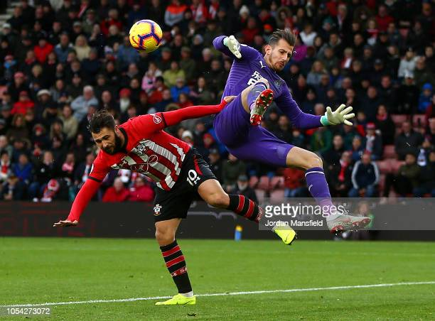 Charlie Austin of Southampton collides with Martin Dubravka of Newcastle United during the Premier League match between Southampton FC and Newcastle...