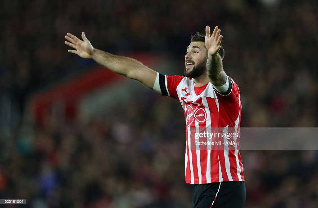 Charlie Austin of Southampton during the Premier League match between Southampton and Everton at St Mary's Stadium on November 27, 2016 in Southampton, England.