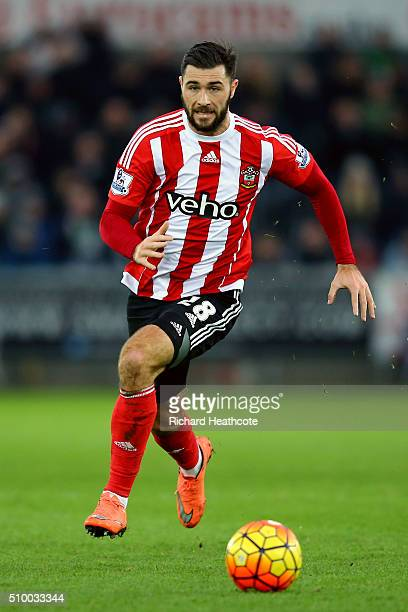 Charlie Austin of Southampton in action during the Barclays Premier League match between Swansea City and Southampton at the Liberty Stadium on...