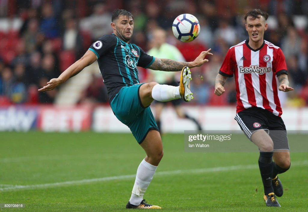 Charlie Austin of Southampton in action during the Pre Season Friendly match between Brentford and Southampton at Griffin Park on July 22, 2017 in Brentford, England.