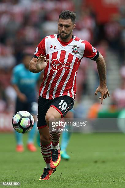 Charlie Austin of Southampton in action during the Premier League match between Southampton and Swansea City at St Mary's Stadium on September 18...