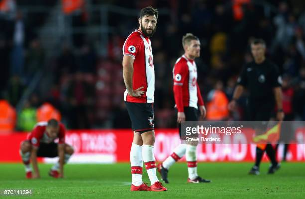 Charlie Austin of Southampton looks dejected following the Premier League match between Southampton and Burnley at St Mary's Stadium on November 4...