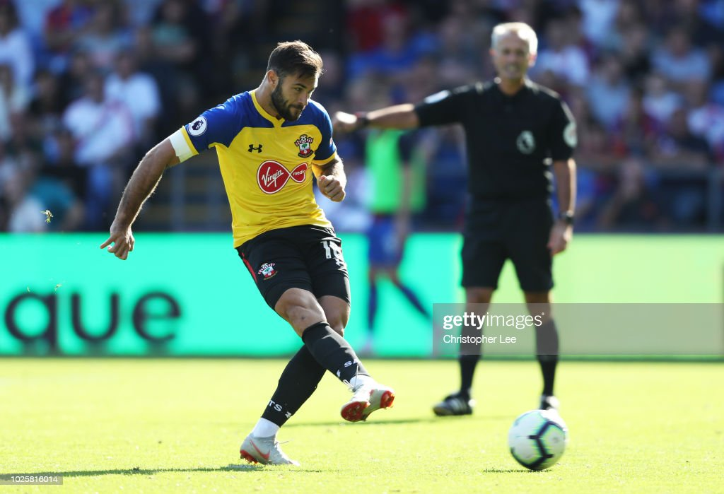 Charlie Austin of Southampton misses a penalty during the Premier League match between Crystal Palace and Southampton FC at Selhurst Park on September 1, 2018 in London, United Kingdom.