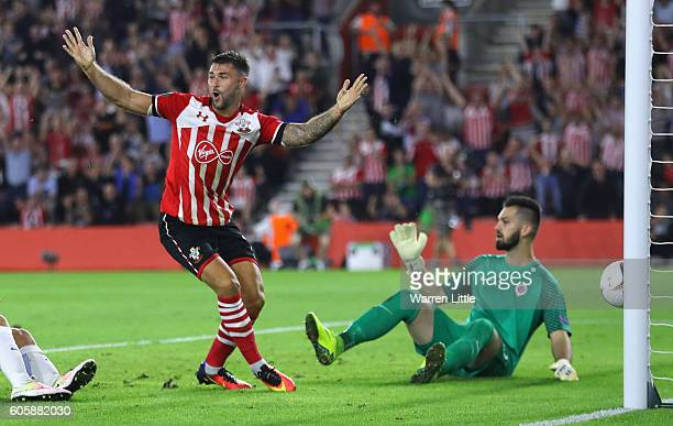 Charlie Austin of Southampton reacts after his goal is disallowed during the UEFA Europa League Group K match between Southampton FC and AC Sparta...