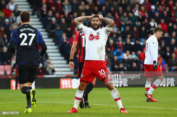 Charlie Austin of Southampton reacts during the Premier League match between AFC Bournemouth and Southampton at Vitality Stadium on December 3 2017...