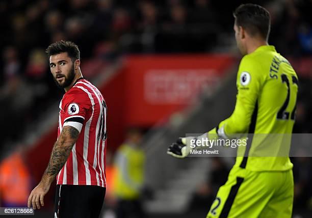 Charlie Austin of Southampton reacts to Maarten Stekelenburg of Everton saving his shot during the Premier League match between Southampton and...