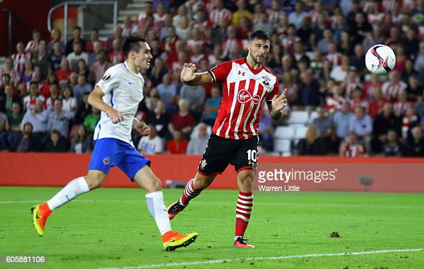 Charlie Austin of Southampton scores his and his teams second goal during the UEFA Europa League Group K match between Southampton FC and AC Sparta...