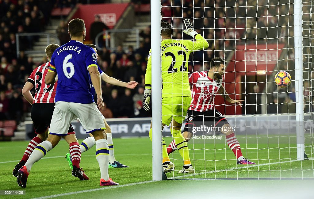 Charlie Austin of Southampton scores his sides first goal during the Premier League match between Southampton and Everton at St Mary's Stadium on November 27, 2016 in Southampton, England.