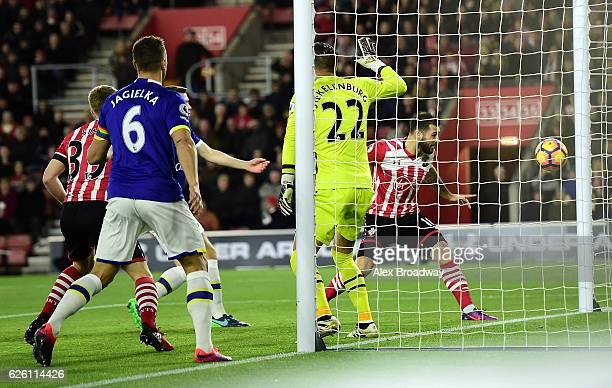 Charlie Austin of Southampton scores his sides first goal during the Premier League match between Southampton and Everton at St Mary's Stadium on...