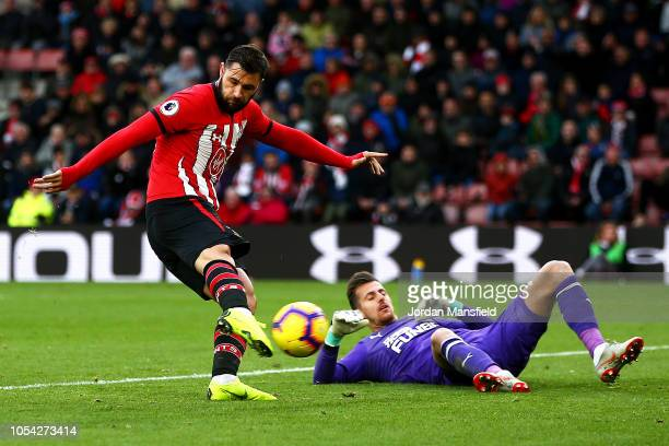Charlie Austin of Southampton scores his team's first goal which is then disallowed during the Premier League match between Southampton FC and...