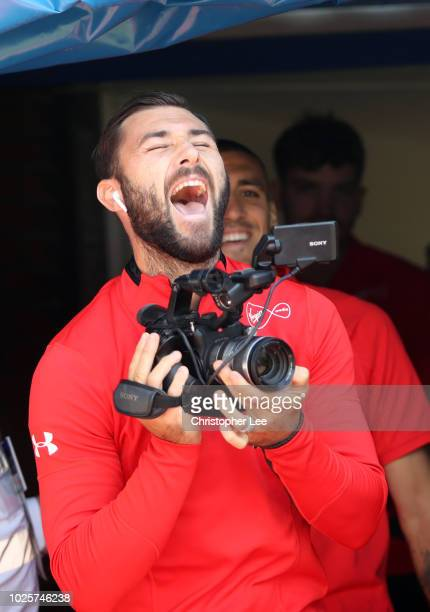 Charlie Austin of Southampton uses a video camera prior to the Premier League match between Crystal Palace and Southampton FC at Selhurst Park on...