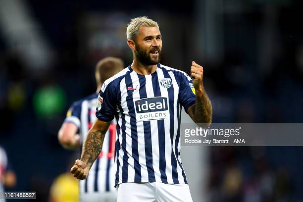 Charlie Austin of West Bromwich Albion celebrates after scoring a goal to make it 10 during the Carabao Cup First Round match between West Bromwich...