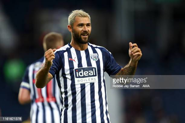 Charlie Austin of West Bromwich Albion celebrates after scoring a goal to make it 1-0 during the Carabao Cup First Round match between West Bromwich...