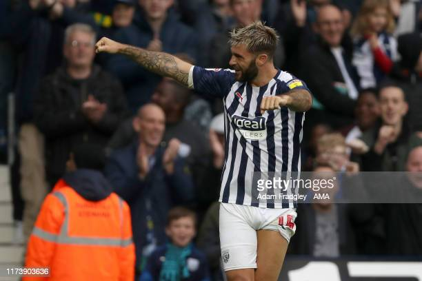 Charlie Austin of West Bromwich Albion celebrates after scoring a goal to make it 3-1 during the Sky Bet Championship match between West Bromwich...