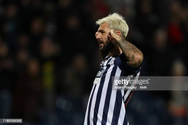Charlie Austin of West Bromwich Albion celebrates after scoring a goal to make it 4-1 during the Sky Bet Championship match between West Bromwich...