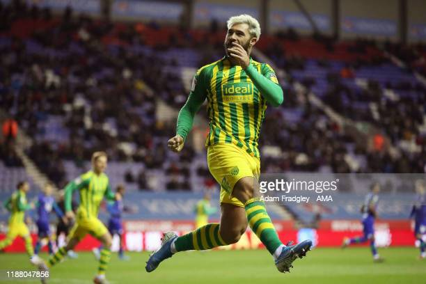 Charlie Austin of West Bromwich Albion celebrates after scoring a goal to make it 11 during the Sky Bet Championship match between Wigan Athletic and...
