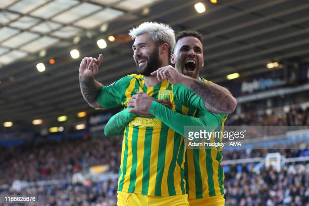 Charlie Austin of West Bromwich Albion celebrates after scoring a goal to make it 23 with Hal RobsonKanu of West Bromwich Albion during the Sky Bet...