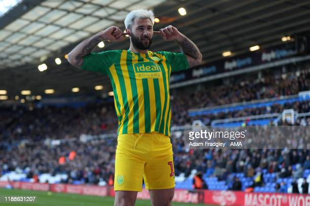 Charlie Austin of West Bromwich Albion celebrates after scoring a goal to make it 23 during the Sky Bet Championship match between Birmingham City...