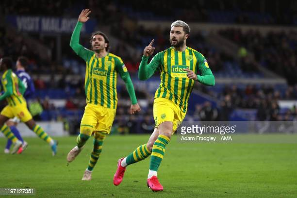 Charlie Austin of West Bromwich Albion celebrates after scoring a goal to make it 1-1 from the penalty spot during the Sky Bet Championship match...