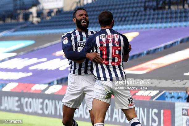 Charlie Austin of West Bromwich Albion celebrates after scoring a goal to make it 1-0 during the Sky Bet Championship match between West Bromwich...