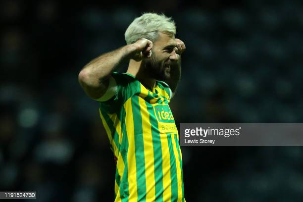 Charlie Austin of West Bromwich Albion celebrates scoring his sides first goal during the Sky Bet Championship match between Preston North End and...
