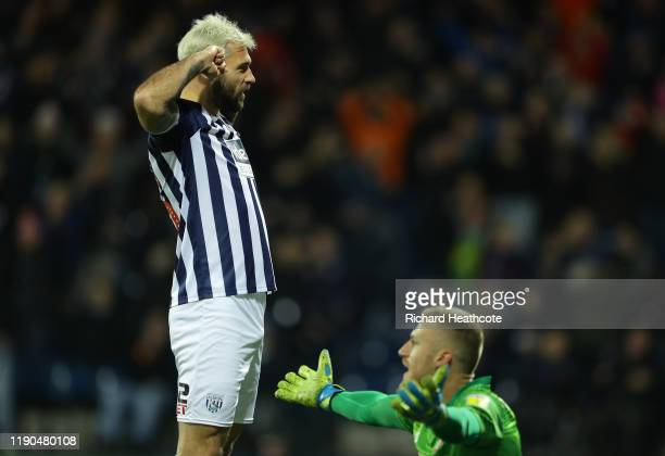 Charlie Austin of West Bromwich Albion celebrates scoring the 4th goal during the Sky Bet Championship match between West Bromwich Albion and Bristol...