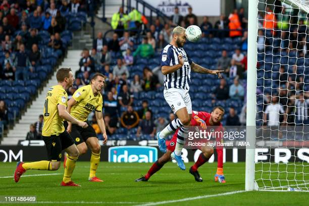 Charlie Austin of West Bromwich Albion scores a goal to make it 1-0 during the Carabao Cup First Round match between West Bromwich Albion and...