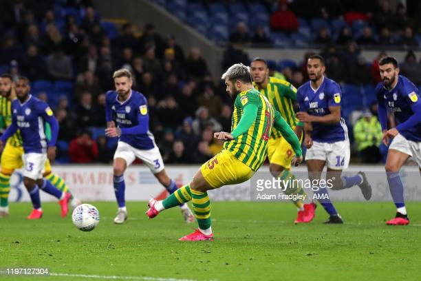 Charlie Austin of West Bromwich Albion scores a goal to make it 11 from the penalty spot during the Sky Bet Championship match between Cardiff City...