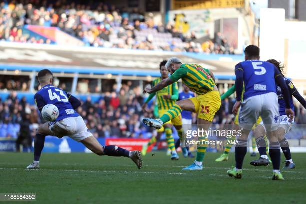 Charlie Austin of West Bromwich Albion scores a goal to make it 22 during the Sky Bet Championship match between Birmingham City and West Bromwich...