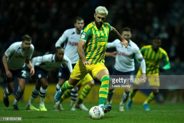 Charlie Austin of West Bromwich Albion scores his sides first goal from the spot during the Sky Bet Championship match between Preston North End and...