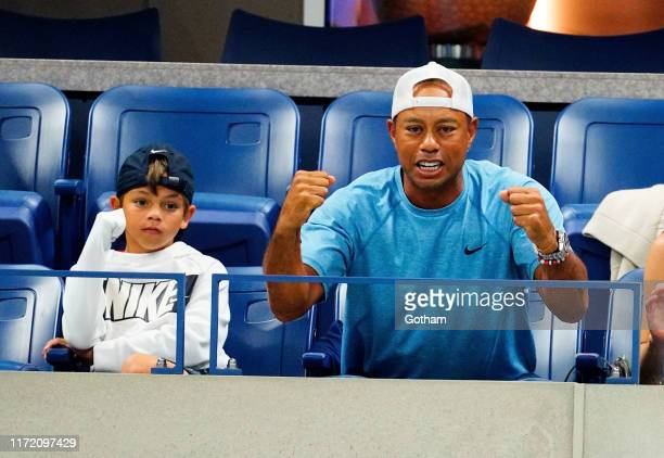 Charlie Axel Woods and Tiger Woods are seen at The 2019 US Open Tennis Championships on September 03 2019 in New York City