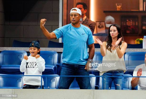 Charlie Axel Woods, Tiger Woods and Erica Herman are seen at The 2019 US Open Tennis Championships on September 03, 2019 in New York City.