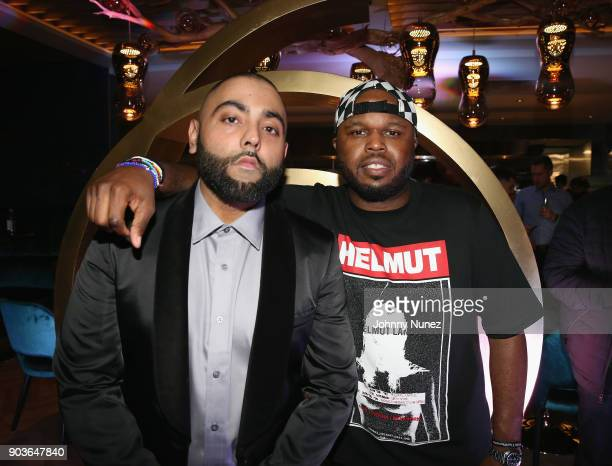 Charlie B and DJ Steph Floss attend the Lebron James Hosts Dwyane Wade's Birthday With The House Of Remy Martin At Drake's New Pick 6ix Restaurant on...